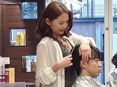 「お客様、おっぱいは好きですか?」いい匂いのする女性美容師のいやらしい誘惑されて、チンポをしごかれる!!