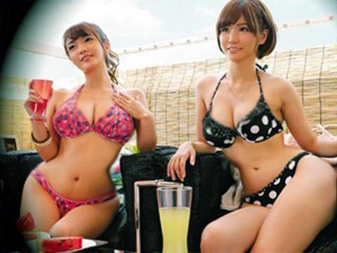 <素人ナンパ企画>「マジで美爆乳ww超でっけぇ~!」海辺の相席居酒屋でゲットしたビキニギャルお姉さんに膣内射精w<盗撮>