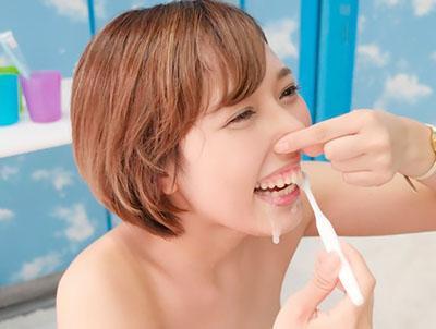 『そうなんですかぁ....』歯並びキレイな'歯科衛生士のたまごが、ザーメン歯磨きから即パコww
