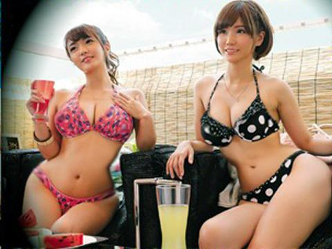 <素人ナンパ>「マジで美爆乳ww超でっけぇーーー♡♡」海辺の相席居酒屋でGETしたビキニギャルお姉さんに膣内射精<盗撮>