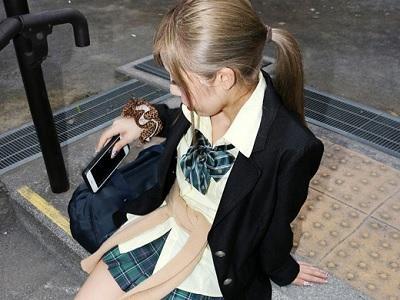 【援助交際】素人ナンパ企画!綺麗なパイパンにかなりエッチ!あみ/茶髪/Cカップ/制服/素人/!膣内射精セックス!円光!